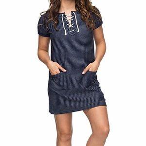 Roxy Blue White Striped Beyond The Ocean Dress XL